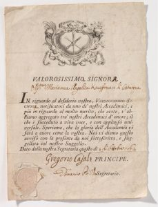 Abb. 8 Akademiediplom, Bologna, Accademia Clementina, 1762, Bregenz, vorarlberg museum