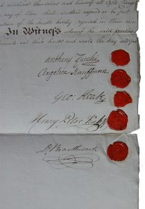 Abb. 16 Ehevertrag Kauffmann-Zucchi, 10. Juli 1781, Detail © Bettina Baumgärtel, Archiv