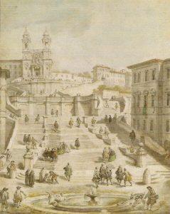 Abb. 17 Giovanni P. Pannini: Die Spanische Treppe in Rom, um 1730, Kreidezeichnung © Bettina Baumgärtel, Archiv