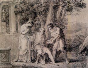 Abb. 37 Iphigenie, Orest und Pylades, 1787, Kreidezeichnung, Weimar, Stiftung Weimarer Klassik, Goethe Nationalmuseum © Bettina Baumgärtel, Archiv