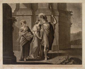 Abb. 83 J. Watson, nach A. Kauffmann: Hektors Abschied von Andromache, Schabkunst, 1779, Bregenz, vorarlberg museum © Bregenz, vorarlberg museum