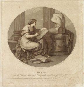 Abb. 85 T. Burke, nach A. Kauffmann: Selbstbildnis als Zeichnung mit der Muse der Poesie, Punktierstich, 1787, Bregenz, vorarlberg museum © Bregenz, vorarlberg museum