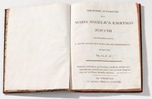 Abb. 90 Giuseppe Carlo Zucchi: Memorie istoriche Maria Angelica Kauffman-Zucchi, Venezia 1787, Hs, Bregenz, vorarlberg msueum, Archiv VLM © Bregenz, vorarlberg museum